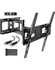 TV Muurbeugel, Draaibare TV Beugel voor 26-55 inch LED, LCD, Plasma, Flat & Curved TV of scherm tot 40 kg, Max. VESA 400x400mm, met HDMI kabel en waterpas