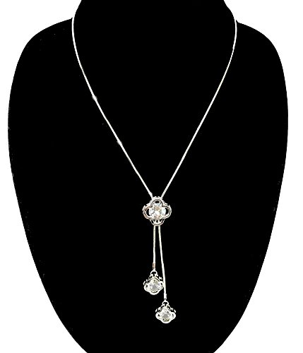 J.S Woman's Adjustable Crystal Pearl Jewelry Tassel Pendant Long Chain Necklace (four leaf (Pearl Clover Necklace)