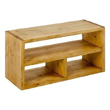 Petit meuble TV rectangulaire  3 niches en bois massif TEXAS