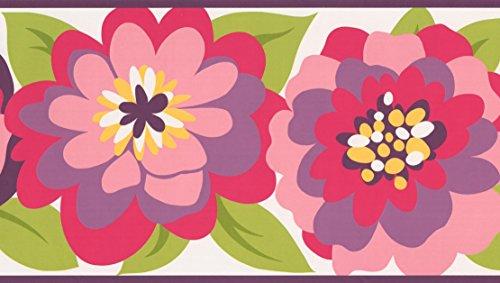Red Purple Pink Yellow Brown Flowers White Kids Wallpaper Border Retro Design, Roll 15' x 9