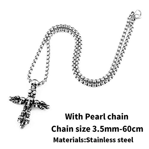 Metal Color: BP8-222 Davitu Vintage Cross Skull Pendant for Men 316 Stainless Steel Titanium Mens Neckace Pedants Unique Jewelry Punk Style BP8-222