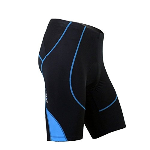 SANTIC Cycling Men's Shorts Biking Bicycle Bike Pants Half Pants 4D COOLMAX Padded Blue L