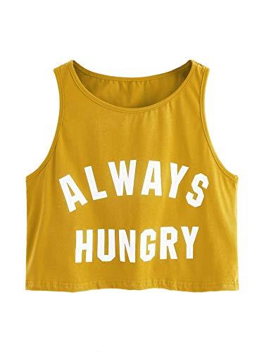 SweatyRocks Women's Summer Sleeveless Letter Print Casual Crop Tank Top Shirts Mustard - Letter Tank