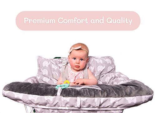 2-in-1 Baby Shopping Cart Cover and High Chair Protector - Germ-Protecting Seat Covers for Grocery Carts, Restaurant High-Chairs - Universal, Soft, Safe - Travel Gear for Babies, Infants by Tooshin Baby (Image #2)