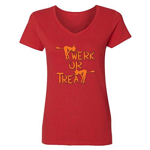 V-Neck for Women Halloween Costumes Twerk Treat Funny Costumes Women's V-Neck Shirts(Red,Small) -