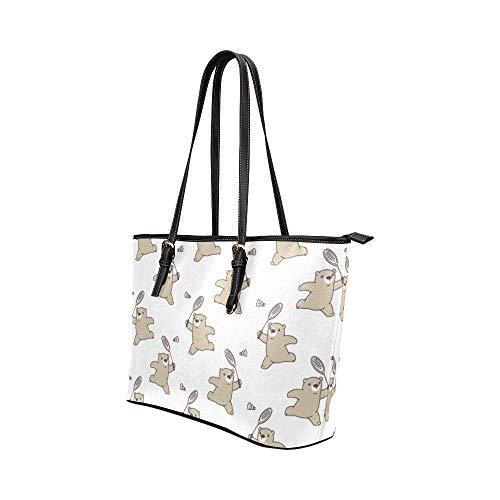 Dam Satchel väskor tecknad underhållning badminton racket läder handväskor väska orsaksala handväskor dragkedja axelorganiserare för kvinnor flickor kvinnor axelväska resväska