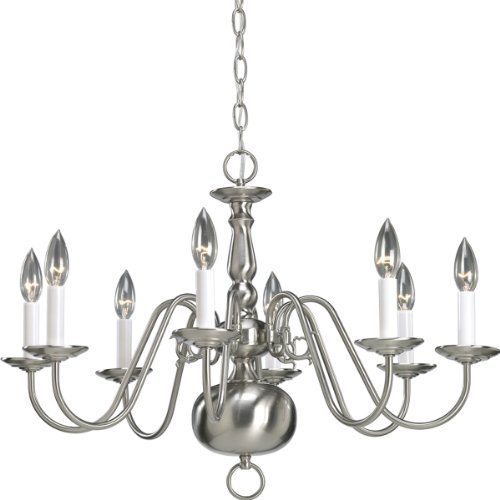 Progress Lighting P4357-09 8-Light Americana Chandelier with Delicate Arms and Decorative Center Column and Candelabra Lamps, Brushed Nickel by Progress Lighting