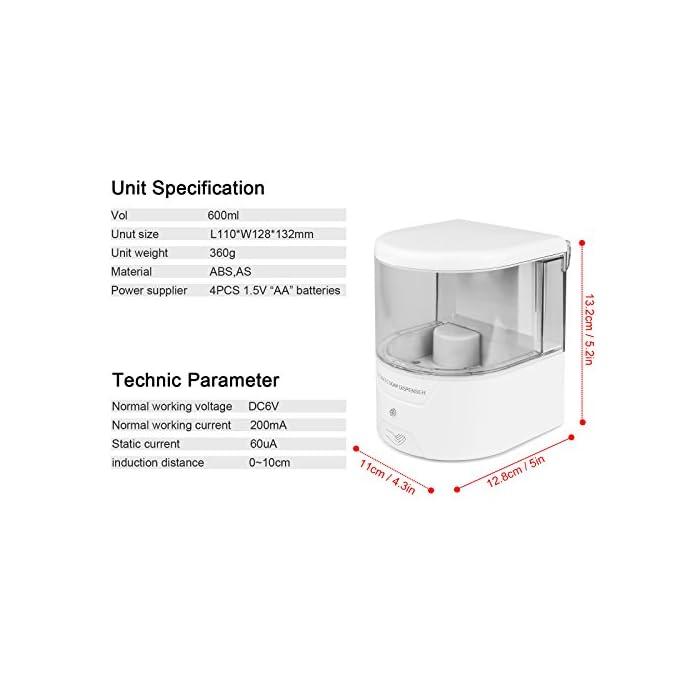 4115OTK%2BHNL ✔【SENSACIÓN AUTOMÁTICA】: Dispensador Automatico Sensor inteligente de infrarrojos incorporado, operación totalmente automática y sin contacto, no más contacto para evitar la segunda infección cruzada. ✔【SIN RESIDUOS】: Dispensador Jabon Automático Seleccione el líquido 1 ml, elimine los desechos y el desorden de la encimera. ✔【CAPACIDAD MÁXIMA】: 600ml Dispensadores De Gel Desinfectante . Ideal para lociones jabones líquidos o desinfectantes, etc.