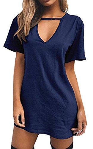 blu Signore Vestito Mini collo BLACKMYTH Front Abito navy Casual Maglietta V Donna Choker xqOPOYX