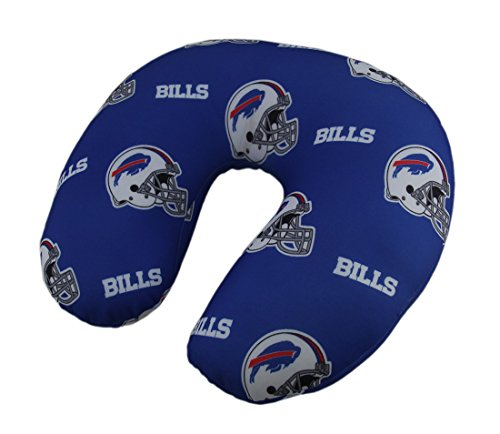 Polyester Neck Pillows Officially Licensed Buffalo Bills Logo Beaded Travel Neck Pillow 13 X 4.5 X 12 Inches (Products Nfl Pillow Buffalo Bills)