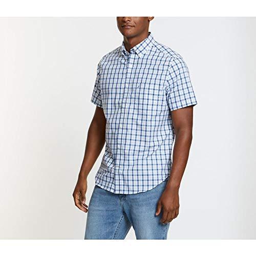 Nautica Men's Wrinkle Resistant Short Sleeve Plaid Button Front Shirt, sail White, Large