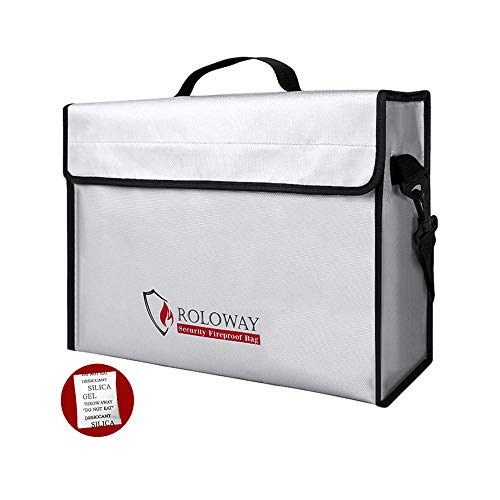 Fireproof Document & Money Bags, ROLOWAY X Large Fireproof & Water Resistant Bag (15