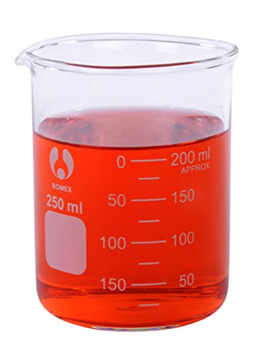 American Educational Clear Borosilicate Glass Bomex Griffin Beaker, 250 milliliter Capacity (Griffin Bomex Beakers)