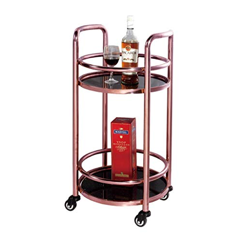 - Hotel Service Car, Rolling Storage Dining Cart, 2 Tier Mobile Metal Kitchen Trolley Cart, Stainless Steel Delivery Car -Tool cart (Color : Rose Gold+Glass)