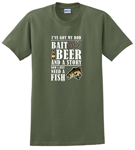 New Walleye Fishing T-shirt (Fishing Reel Fishing Pole Fishing Net Funny Fishing Gifts Bait Beer Story Now Need a Fish T-Shirt Large MlGrn )
