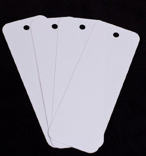 USA Made Bulk Package 50 White Acid - Cardstock Bookmarks With Hole for String