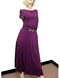 Womens Purple Rayon Runway Dress w/Leather Belt 277897. Gucci