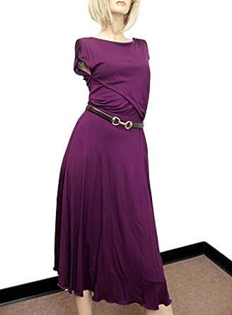Amazon Gucci Womens Purple Rayon Runway Dress Wleather Belt