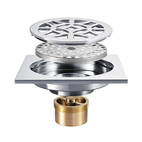 4-Inch Square Shower Floor Drain Tile Insert Pure Cupper Brushed Grate Strainer With Removable Cover Anti-Clogging, High-Grade Bronze Floor Drain by YJZ