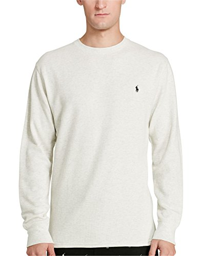 Waffle Crew Shirt - Polo Ralph Lauren Men's Thermal Crew-Neck Shirt, Waffle Knit, Oxford Heather, XL