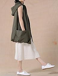 Mordenmiss Women\'s Sleeveless Coat Big Pockets Waistcoat Travel Hoodie Vest (Medium, Style 2-Army Green)