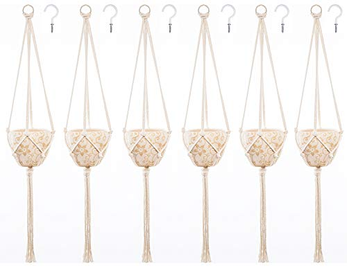- Macrame Plant Hanger, Set of 6 with 6 Ceiling Hooks, Indoor Outdoor Planter Hanger Flower Pot Holder Handmade Cotton Rope 4 Legs