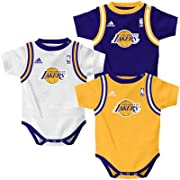 Los Angeles LA Lakers 3pc Jersey Tank Creeper Bodysuit Set Infant Baby (0-3 Months)