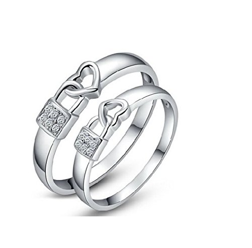 6584a7b13 Buy GirlZ! Silver Platinum Plated Simple Heart Rhinestone Couple Rings for  Men and Women Online at Low Prices in India | Amazon Jewellery Store -  Amazon.in