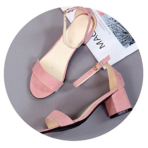 fairly_headstream Dress Shoes High Heels Boat Shoes Wedding Shoes with Peep Toe Sandals Casual 997,Pink,4.5