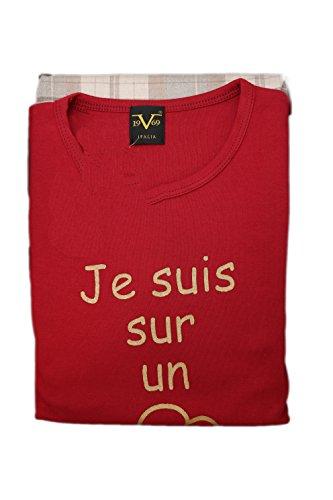 Versace 19.69 - Pigiama 08-255V per donna, 100% cotone interlook pettinato, manica lunga - BORDEAUX - S