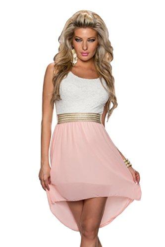 4370 Fashion4Young Damen Kleid aus Chiffon Vokuhila-Styl Minikleid dress verfügbar in 5 Farben 36/38 (36/38, Rosa Weiß)
