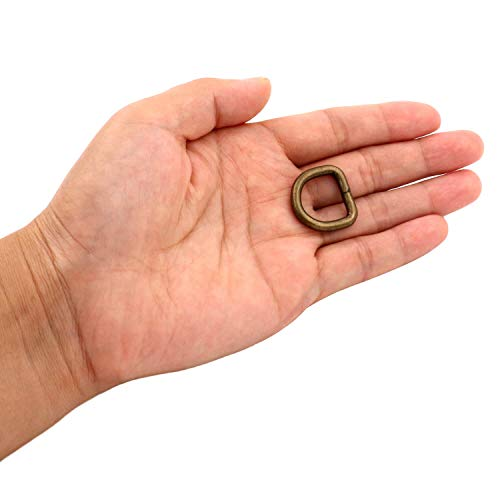 BIKICOCO Tall Metal D-Rings Buckle, 0.6 x 0.6 inch Non-Welded for Webbing Sewing DIY - Bronze - Pack of 20