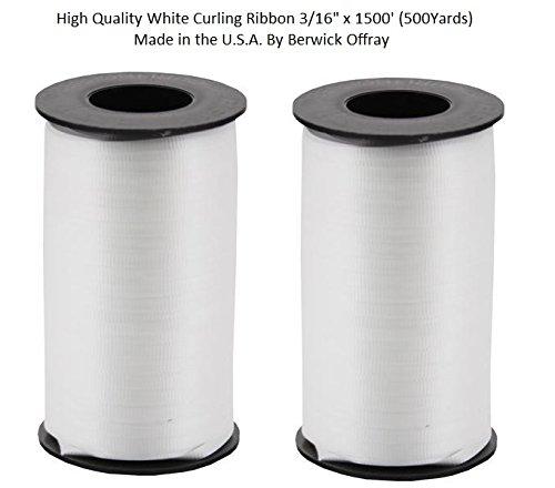 2-Pack - Berwick Splendorette Crimped Curling Ribbon, 3/16-Inch Wide by 500-Yard Spools, White