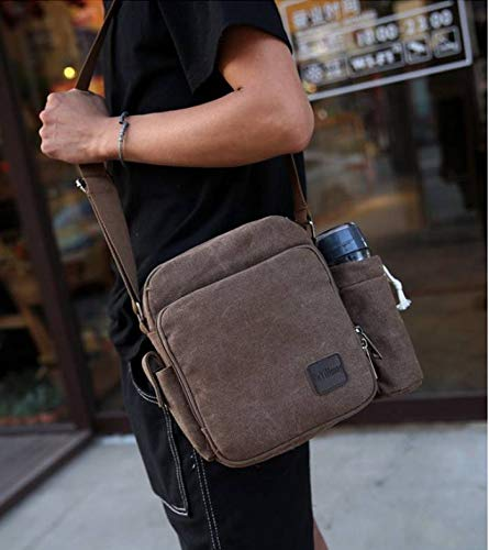 7kinds Shoulder Canvas Style4 Multi Comvip Crossbody Purse Handbag Men's Brown pocket Bags 5SOqxRn