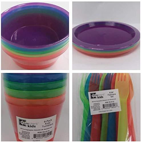 Set 6 Plates, Bowls, Tumblers, Forks Spoons Rainbow Color Kids Dish