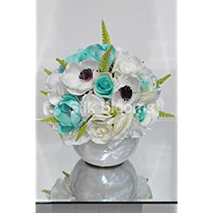 Beautiful Artificial Ivory and Aqua Rose and Anemone Floral Arrangement with Hydrangea 65