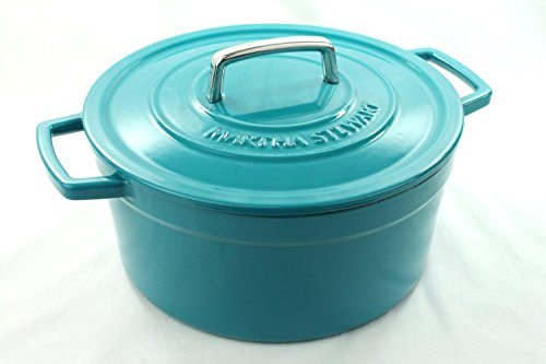 Enameled Cast Iron Collection - Martha Stewart Teal Blue Enameled Cast Iron 6 Qt. Round Dutch Oven Casserole
