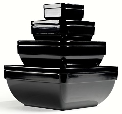 8pc Pure Melamine Nesting Service Set, Black