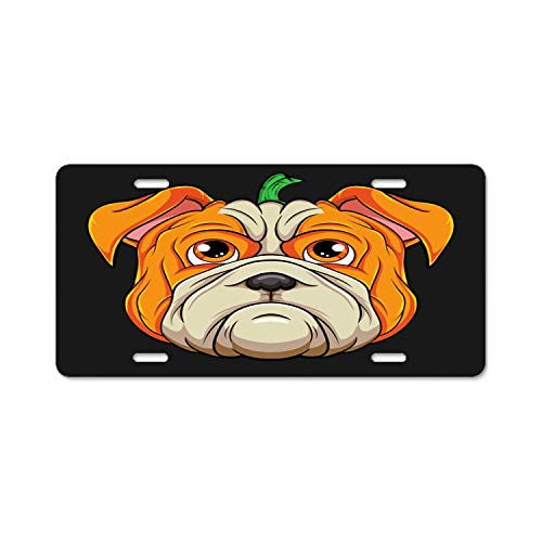 Fabri.YWL Abstract License Plate English Bulldog Pumpkin Head Halloween Costume High Gloss Aluminum Novelty Car Licence Plate Covers Auto Tag Holder 12