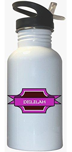 Delilah - Girl Name White Stainless Steel Water Bottle Straw Top