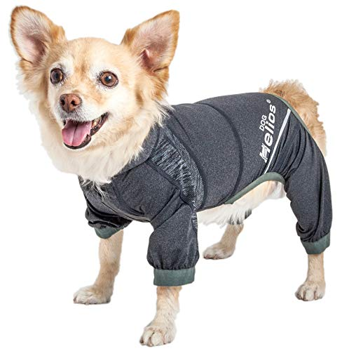 Dog Helios 'Namastail' Lightweight 4-Way Stretch Breathable Full Bodied Performance Yoga Dog Hoodie Tracksuit, Large, Black