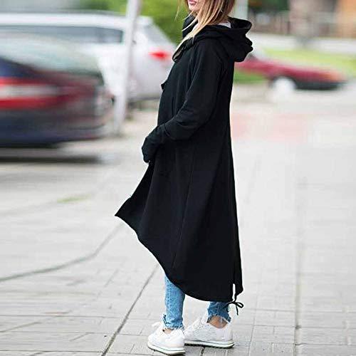 Elecenty Lunghe Da Con Tasca Giacca A Lungo Cappuccio Grigio Outwear Cappotto Maniche Elegante Donna ZtrZxv5wq