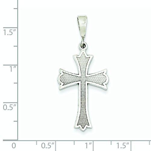 Or blanc 14 carats Pendentif croix-Dimensions :  27 x 16 mm-JewelryWeb