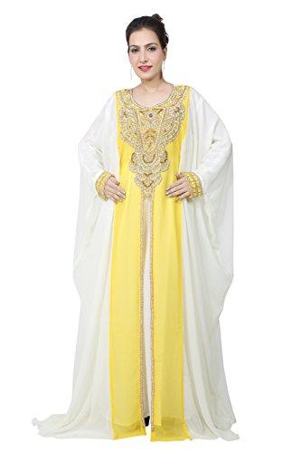 BEDI'S UAE Style Women's Farasha Maxi Arabic Islamic Muslim Dress Kaftan Long Dress - One Size (KAF-2935) Yellow