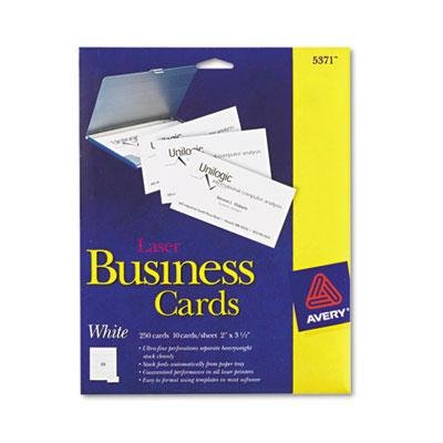 Two-Side Printable Business Cards, Laser, 2 x 3-1/2, White,