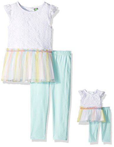 irls' Drop-Waist Tunic with Legging and Matching Doll Outfit, White/Multi, 4 ()