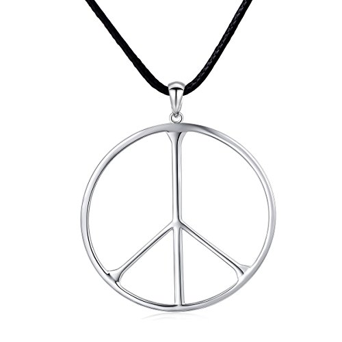 S925 Sterling Silver Classic Large Peace Sign Symbol Unisex Pendant Necklace for Men Women Jewelry ()