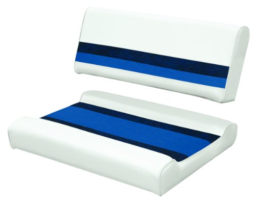 Wise 8WD125FF-1008 Deluxe Pontoon Series Pontoon Flip-Flop Seat Cushion Set, White/Navy-Blue - use with 8WD125FF-1B Series Base