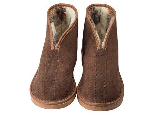 aveego - Zapatillas de estar por casa de Ante para hombre Brown (EVA Sole)