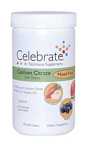 Celebrate Calcium Citrate Soft Chews 500mg - Mixed Fruit - 90 Count